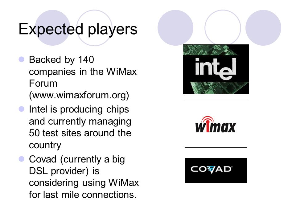 Expected players Backed by 140 companies in the WiMax Forum (www.wimaxforum.org)