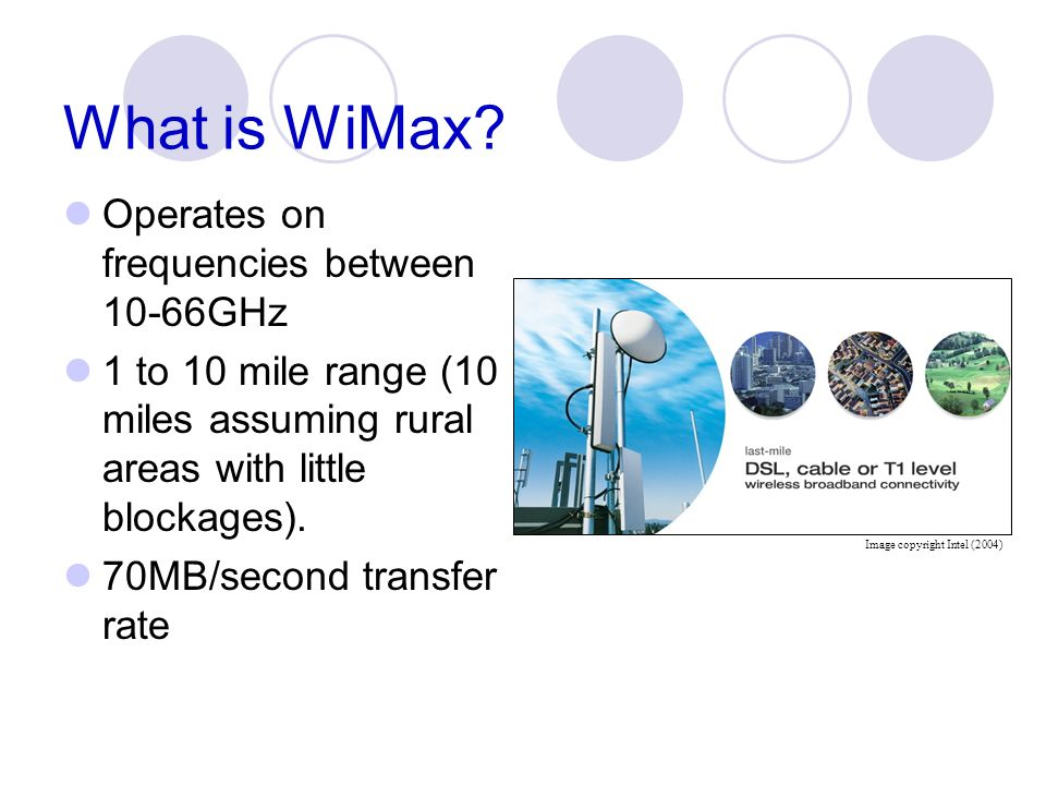 What is WiMax Operates on frequencies between 10-66GHz
