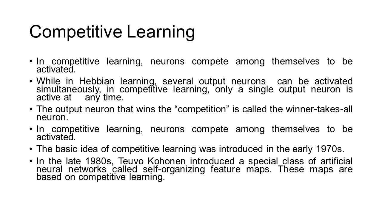 Competitive Learning Inpetitive Learning Neuronspete Among Themselves To Be  Activated ' Chestbrew Whole Bean Coffee