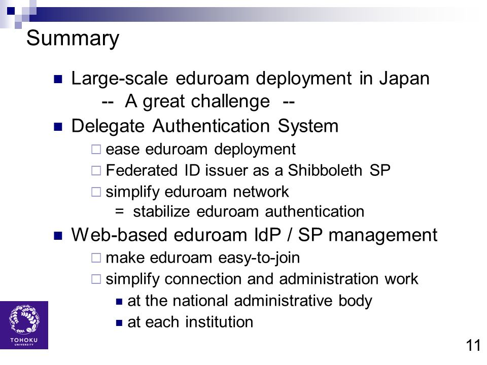 Summary Large-scale eduroam deployment in Japan -- A great challenge -- Delegate Authentication System.