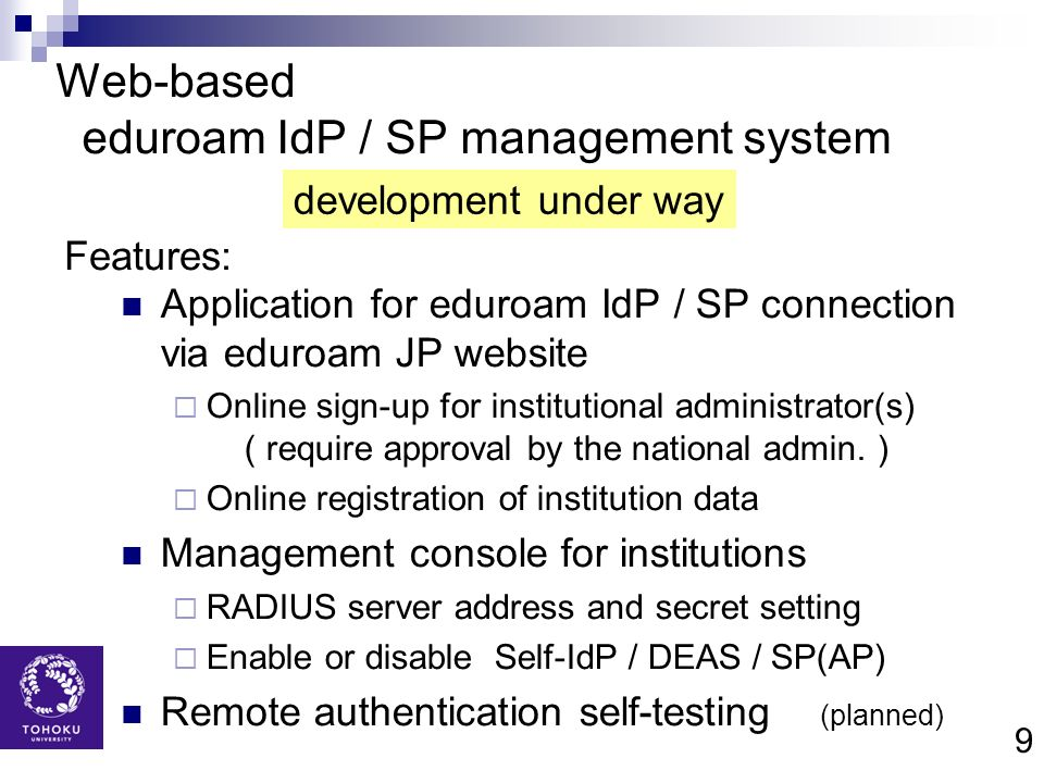 Web-based eduroam IdP / SP management system