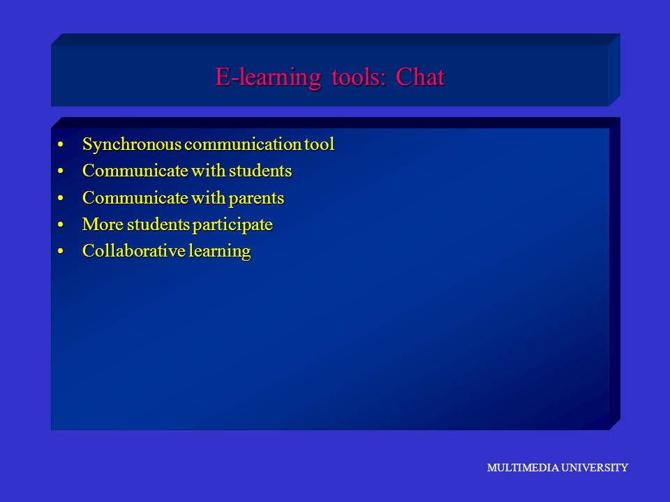 E-learning tools: Chat