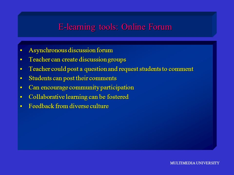 E-learning tools: Online Forum