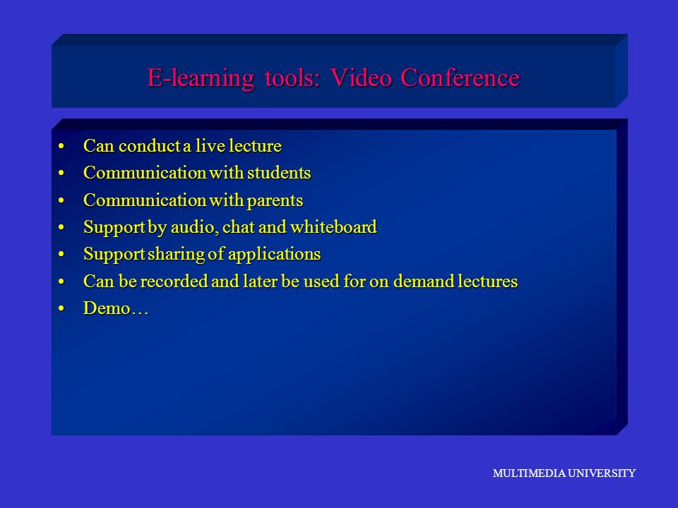 E-learning tools: Video Conference