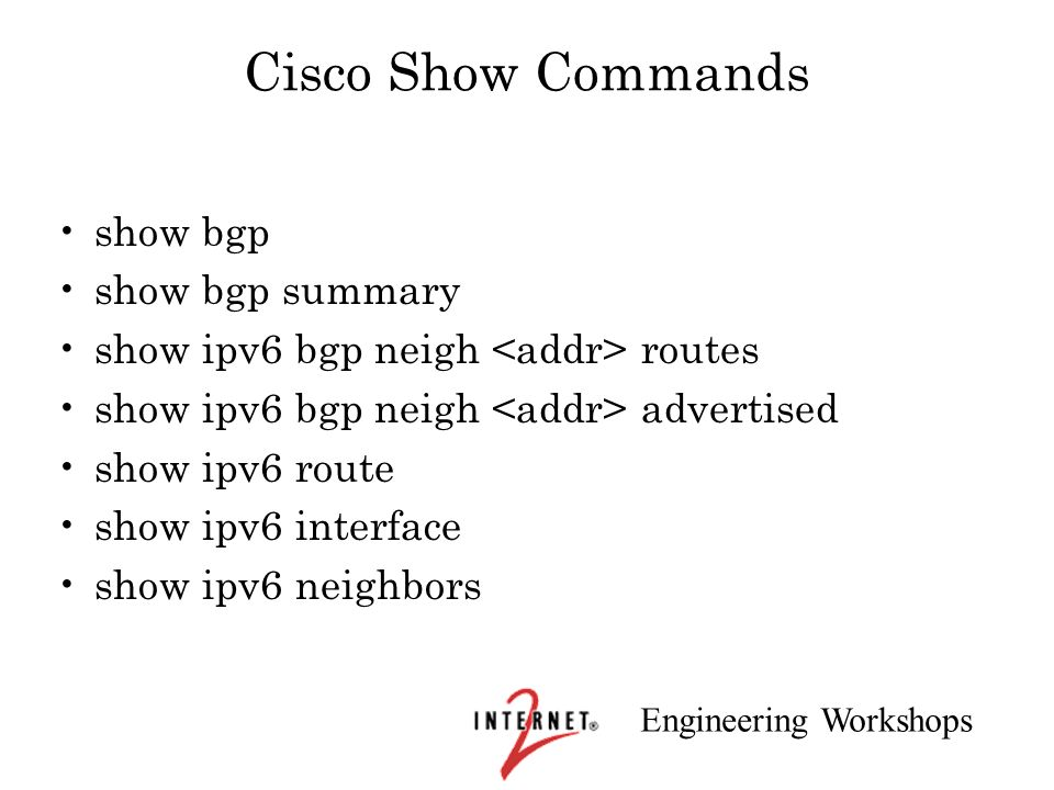 Cisco Show Commands show bgp show bgp summary