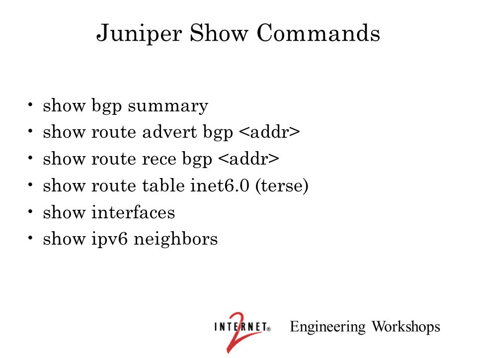 Juniper Show Commands show bgp summary