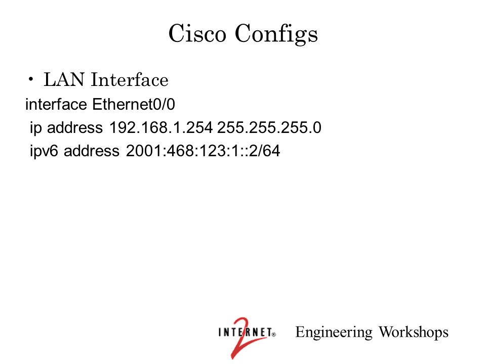 Cisco Configs LAN Interface interface Ethernet0/0