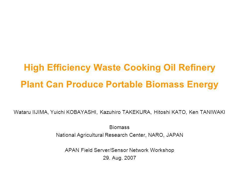 High Efficiency Waste Cooking Oil Refinery Plant Can Produce Portable  Biomass Energy Wataru IIJIMA, Yuichi KOBAYASHI, Kazuhiro TAKEKURA, Hitoshi  KATO,