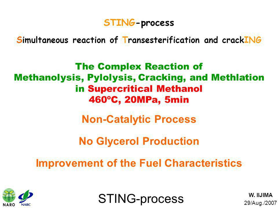 STING-process Non-Catalytic Process No Glycerol Production