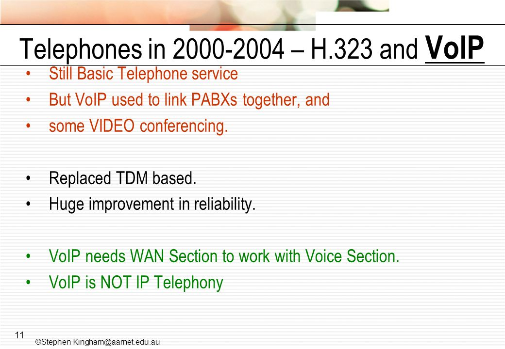 Telephones in – H.323 and VoIP