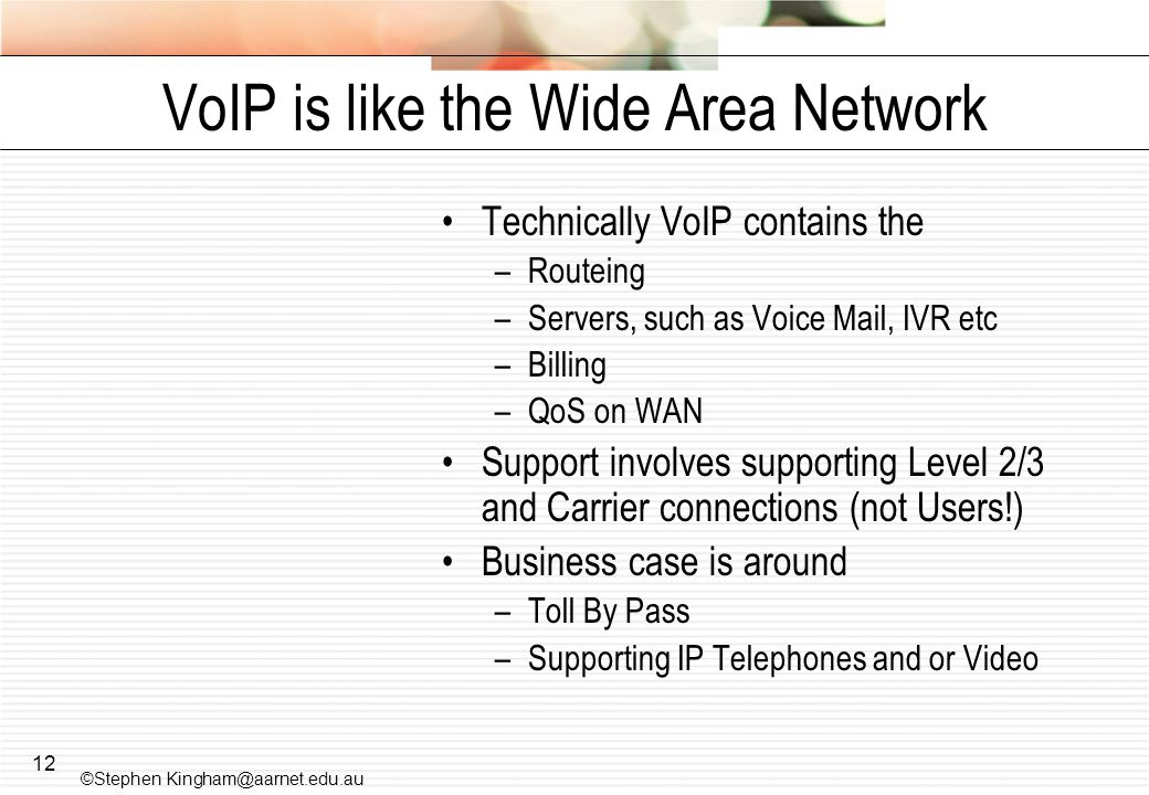 VoIP is like the Wide Area Network