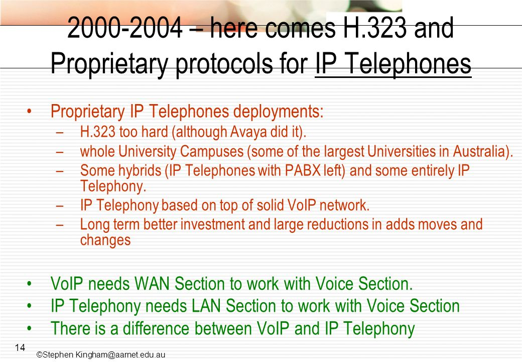 2000-2004 – here comes H.323 and Proprietary protocols for IP Telephones