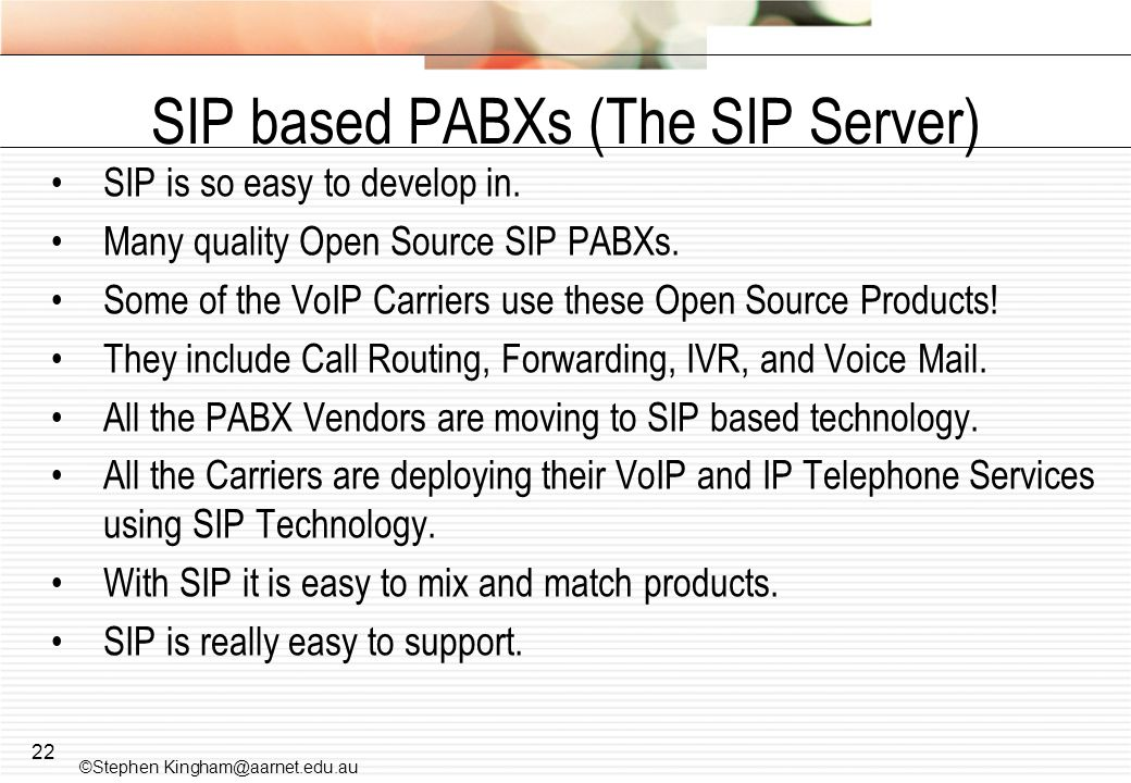 SIP based PABXs (The SIP Server)