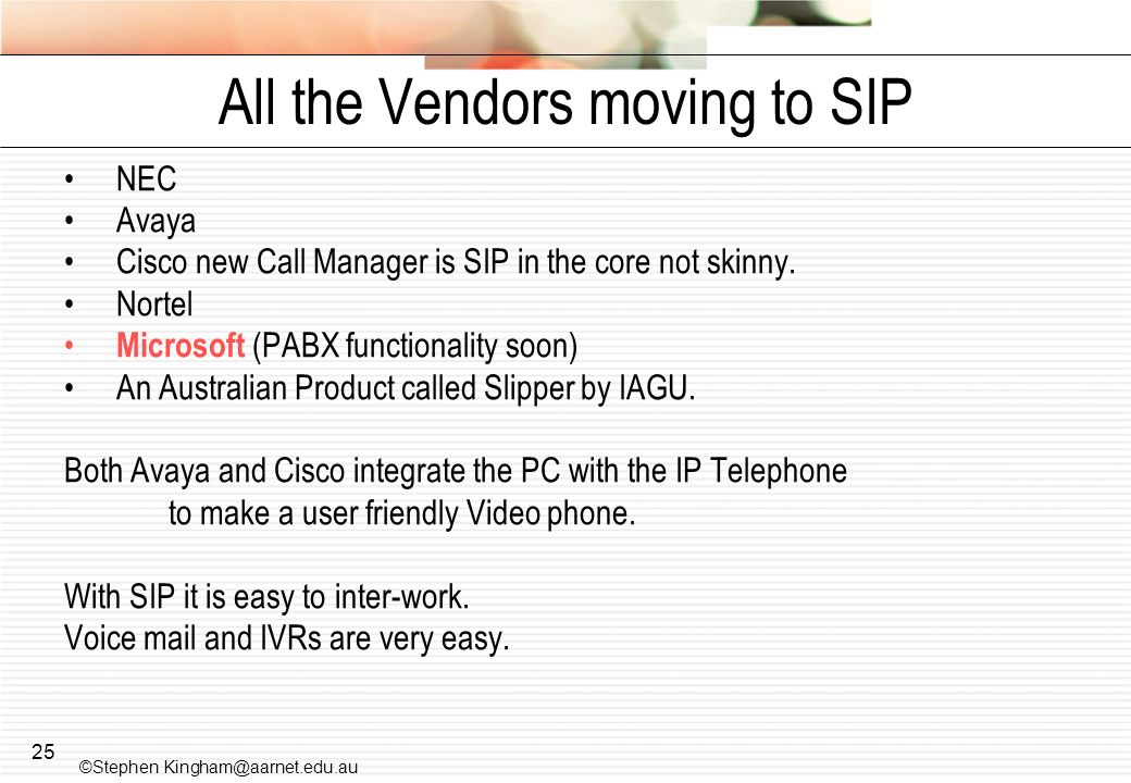 All the Vendors moving to SIP
