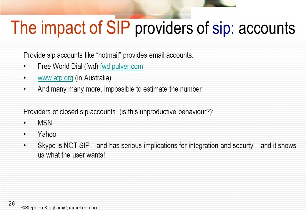 The impact of SIP providers of sip: accounts