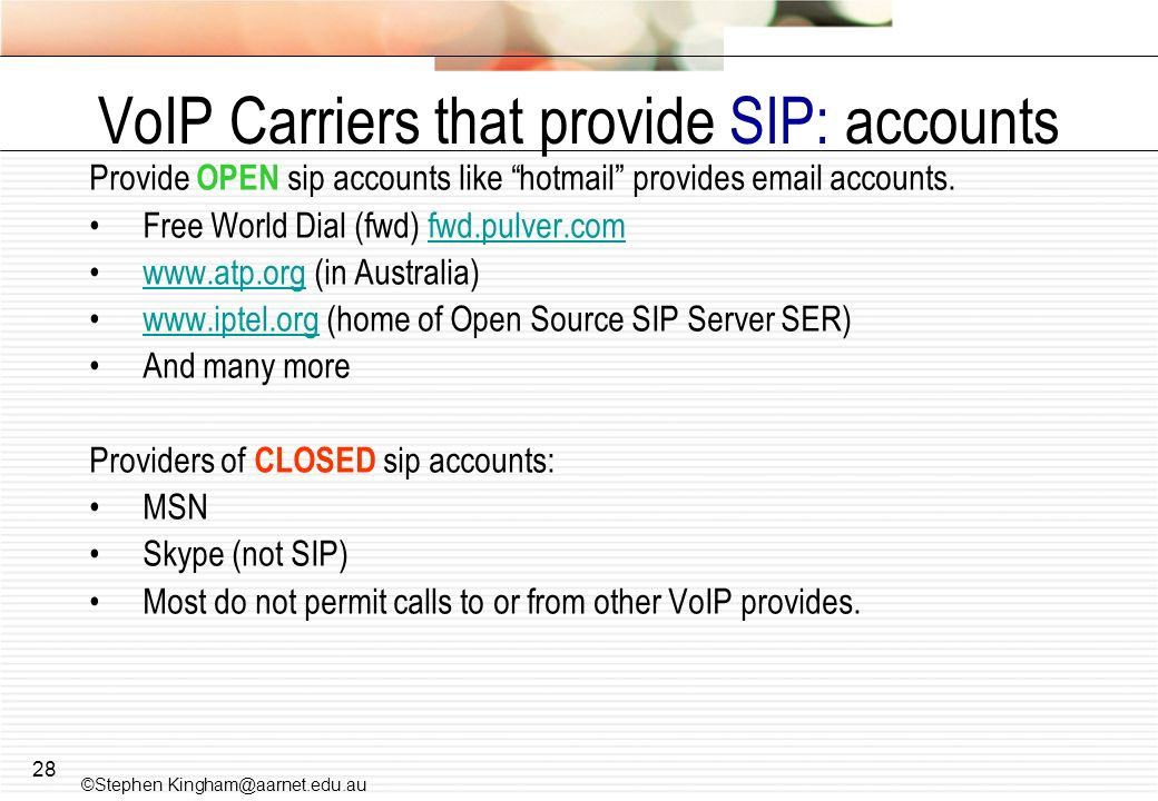 VoIP Carriers that provide SIP: accounts