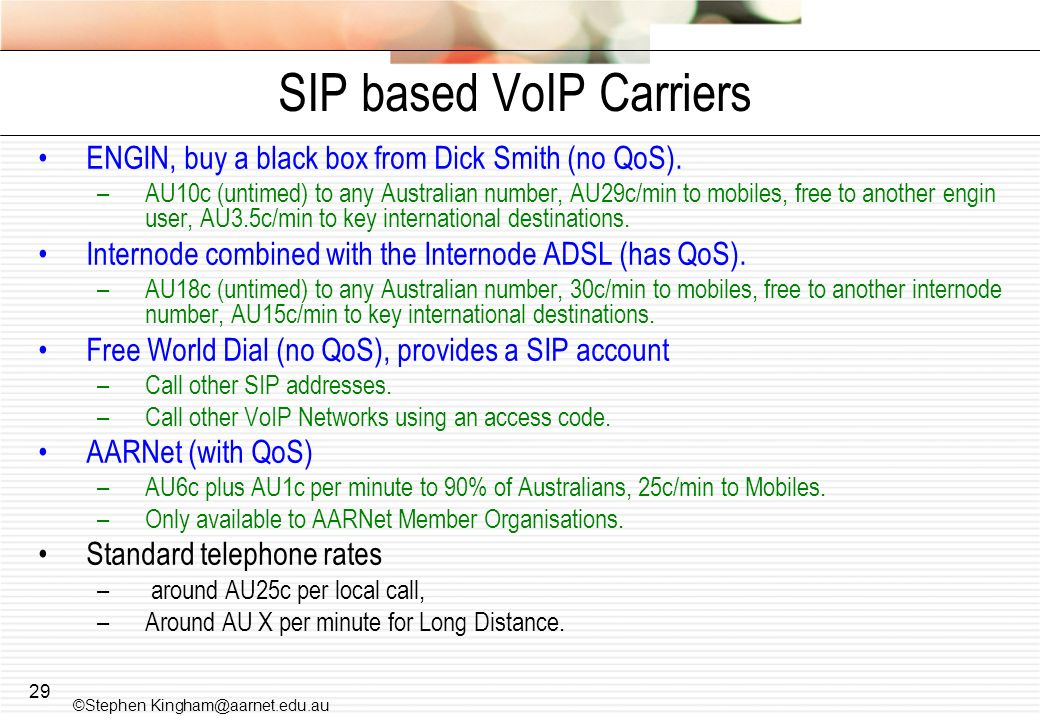 SIP based VoIP Carriers