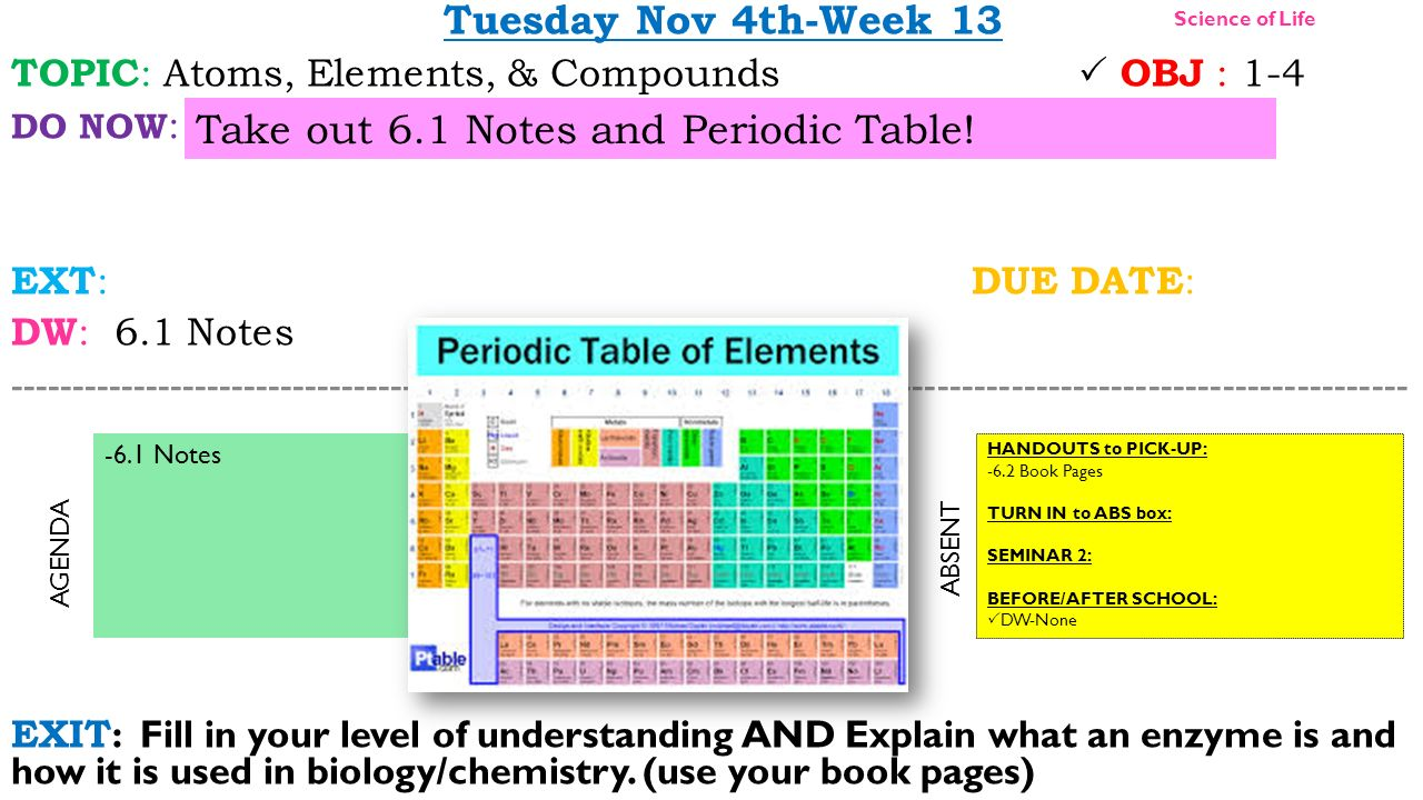 Take out 61 notes and periodic table ppt video online download take out 61 notes and periodic table urtaz