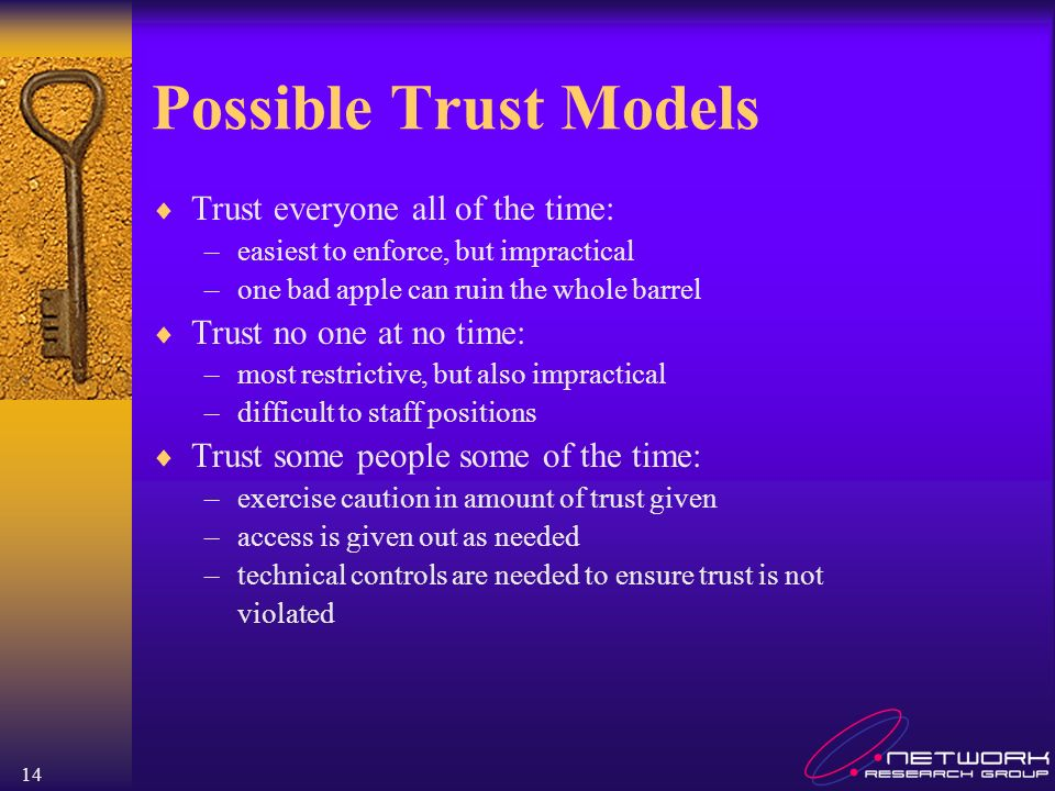 Possible Trust Models Trust everyone all of the time: