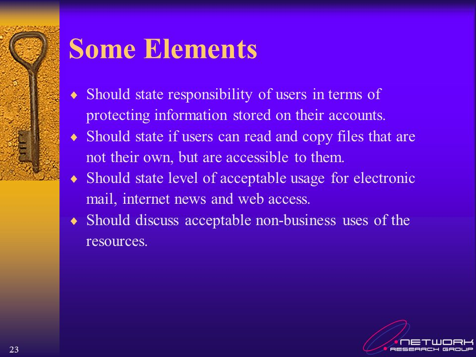 Some Elements Should state responsibility of users in terms of