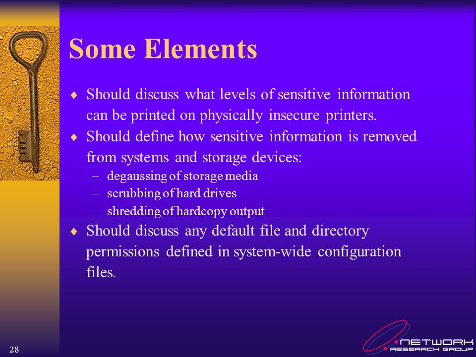 Some Elements Should discuss what levels of sensitive information
