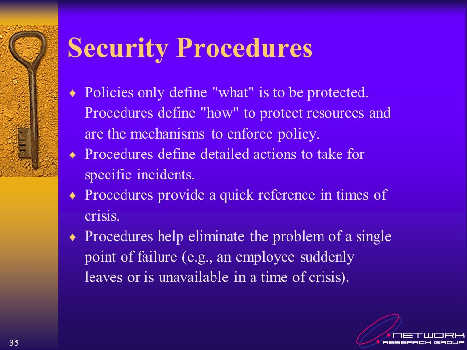 Security Procedures Policies only define what is to be protected.