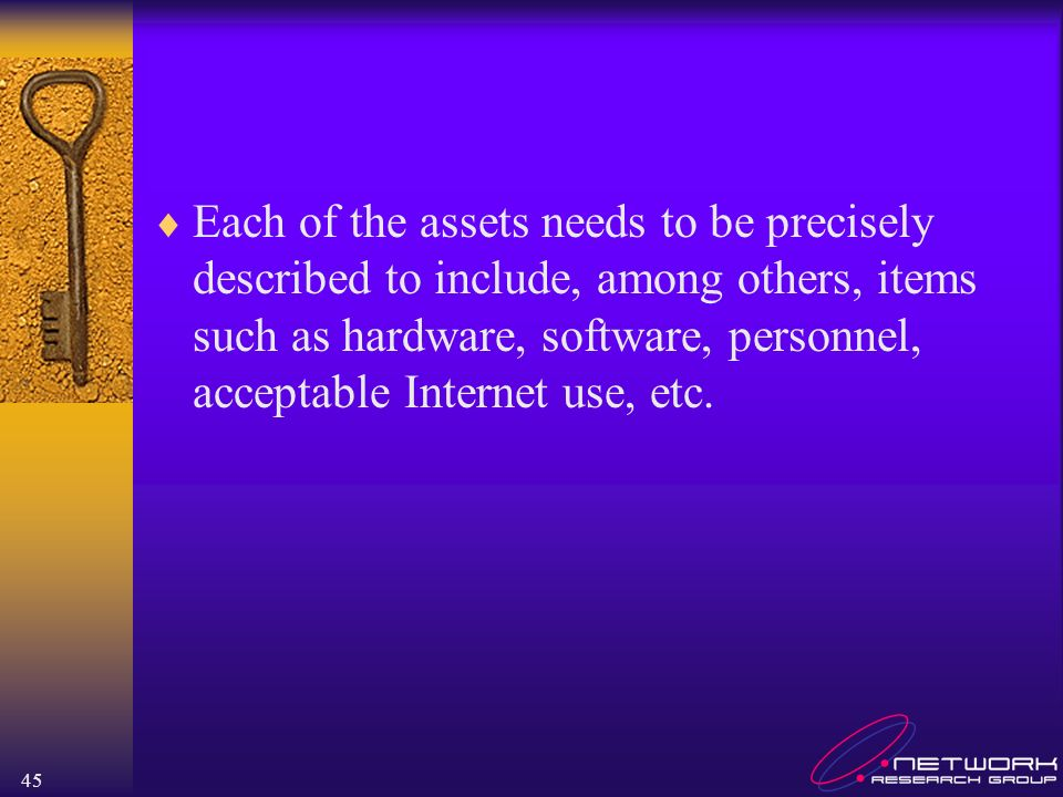 Each of the assets needs to be precisely described to include, among others, items such as hardware, software, personnel, acceptable Internet use, etc.