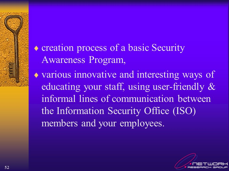 creation process of a basic Security Awareness Program,