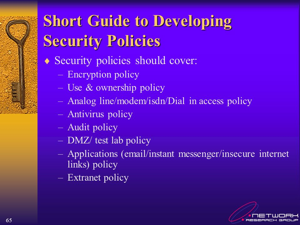 Short Guide to Developing Security Policies