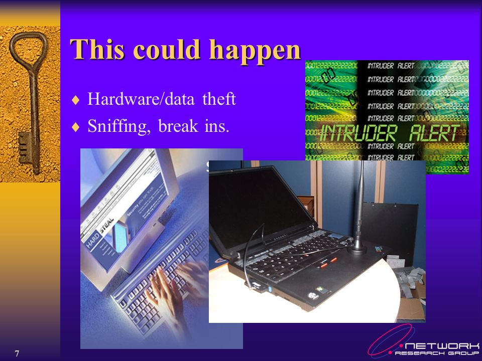This could happen Hardware/data theft Sniffing, break ins.