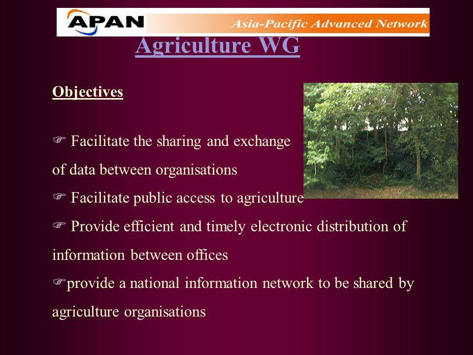 Agriculture WG Objectives