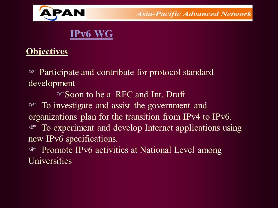 IPv6 WGObjectives. Participate and contribute for protocol standard development. Soon to be a RFC and Int. Draft.