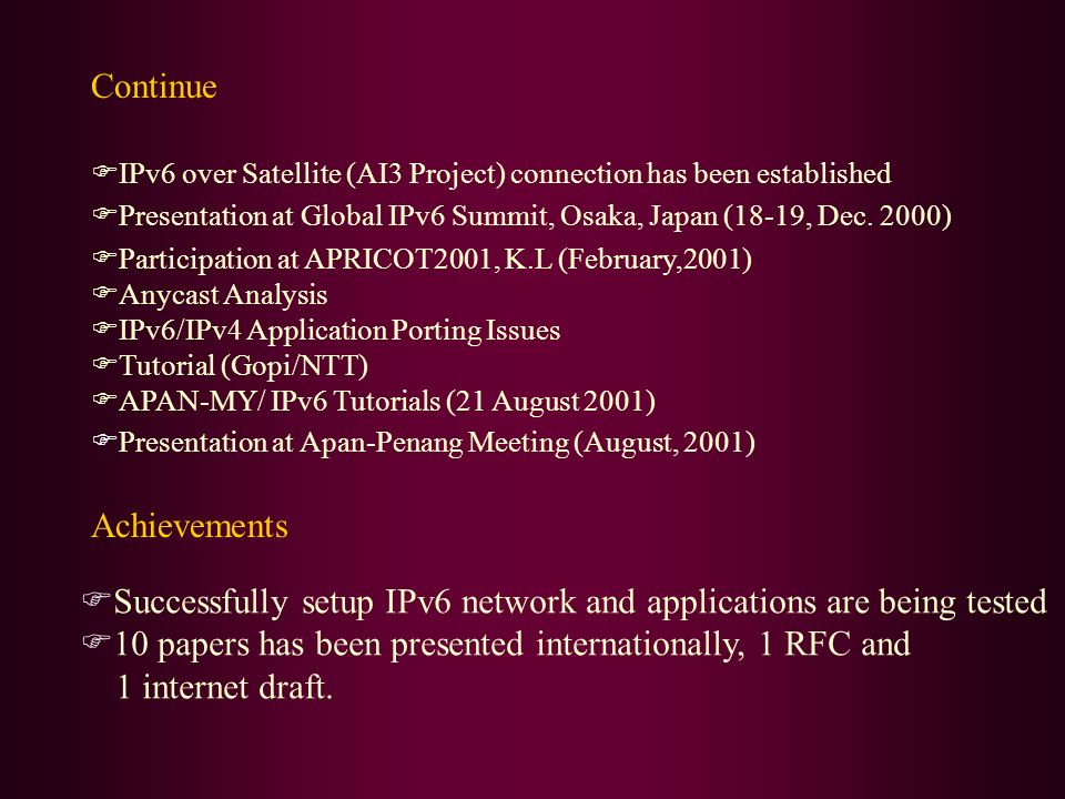 Successfully setup IPv6 network and applications are being tested