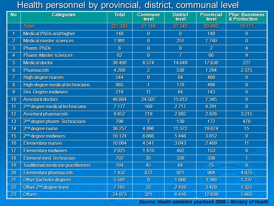 Health personnel by provincial, district, communal level