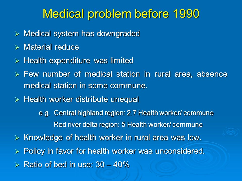 Medical problem before 1990