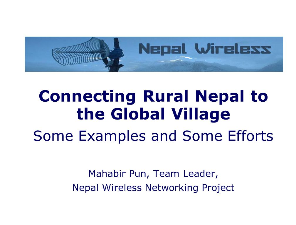 Connecting Rural Nepal to the Global Village