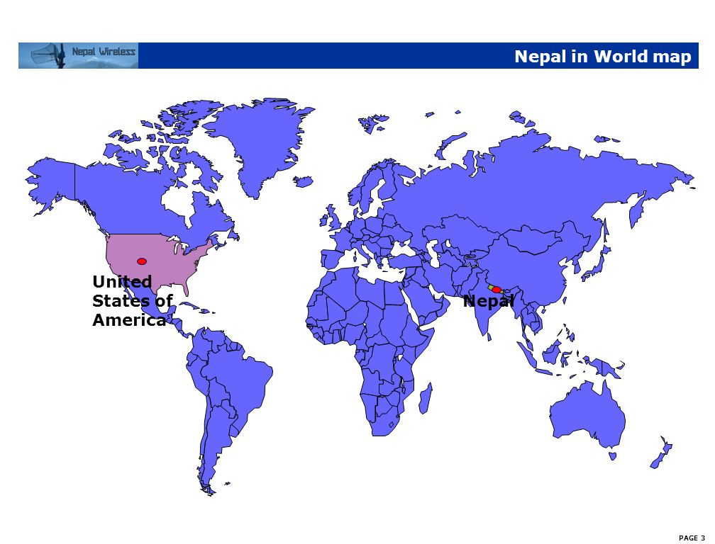 Nepal in World map United States of America Nepal