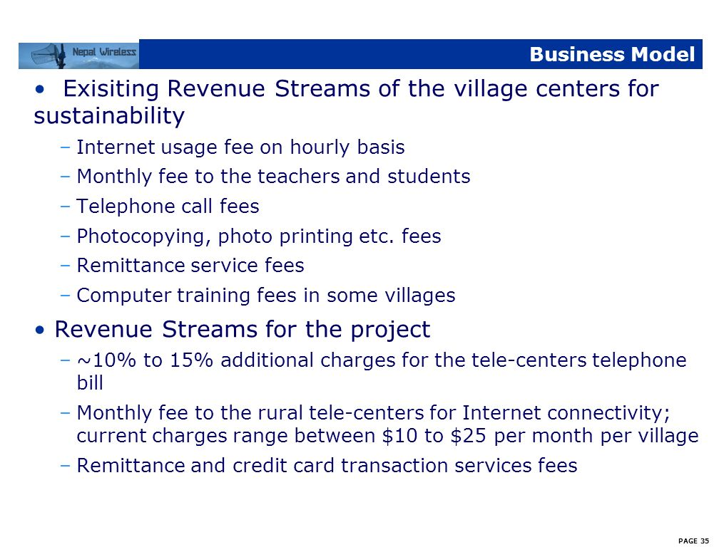 Exisiting Revenue Streams of the village centers for sustainability