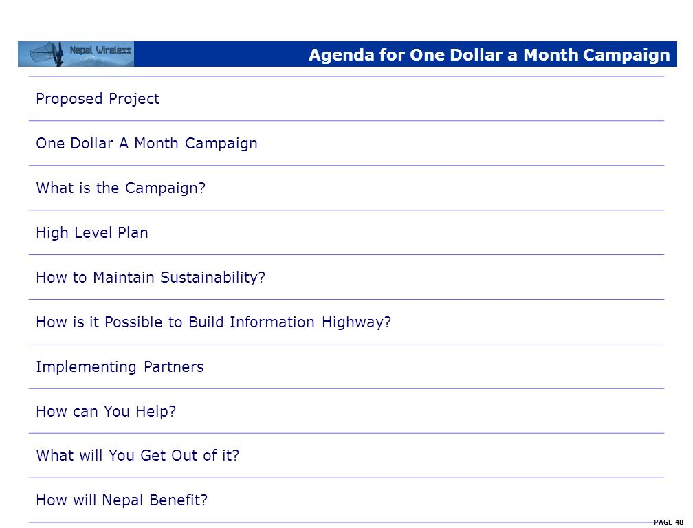Agenda for One Dollar a Month Campaign