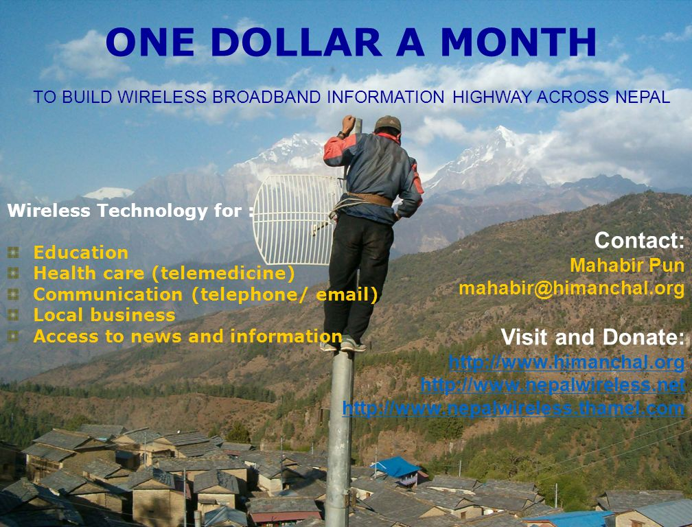 TO BUILD WIRELESS BROADBAND INFORMATION HIGHWAY ACROSS NEPAL