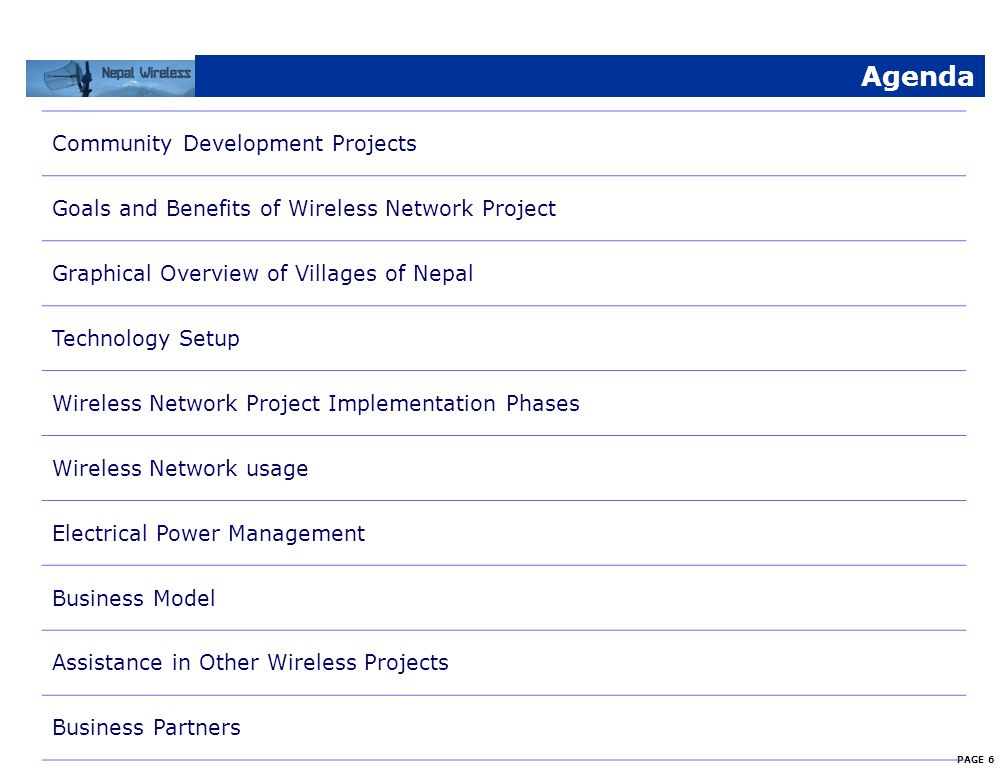 Agenda Community Development Projects