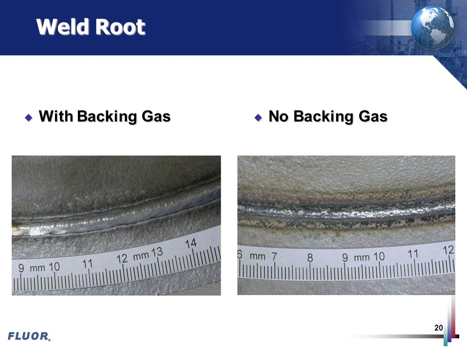 Weld Root With Backing Gas No Backing Gas