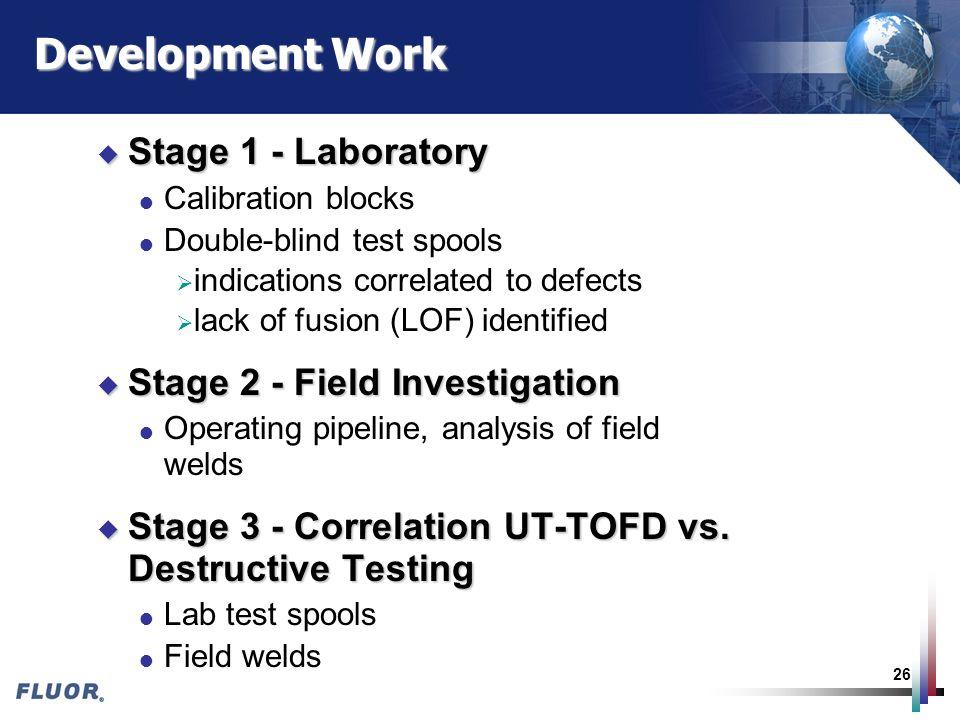Development Work Stage 1 - Laboratory Stage 2 - Field Investigation