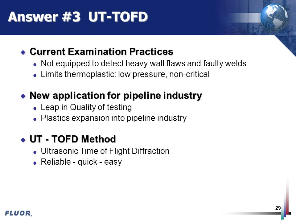 Answer #3 UT-TOFD Current Examination Practices