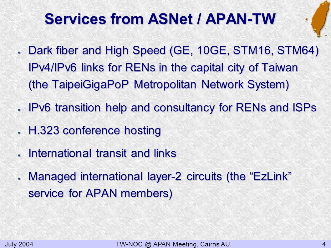 Services from ASNet / APAN-TW