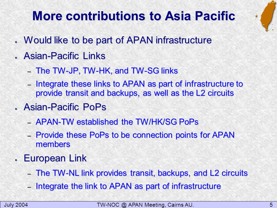 More contributions to Asia Pacific