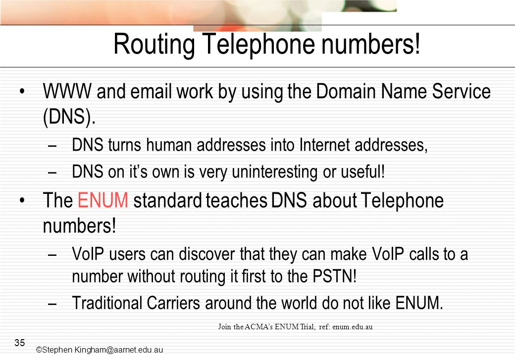 Routing Telephone numbers!
