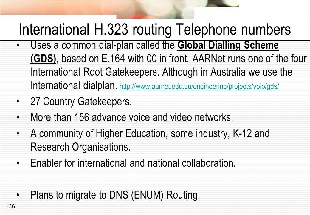 International H.323 routing Telephone numbers