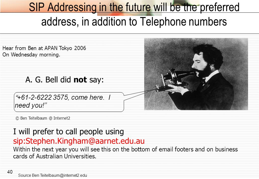 SIP Addressing in the future will be the preferred address, in addition to Telephone numbers