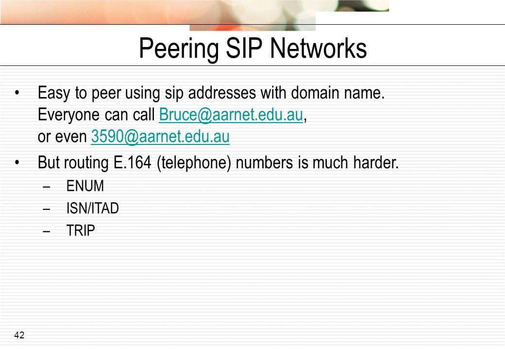 Peering SIP Networks Easy to peer using sip addresses with domain name. Everyone can call Bruce@aarnet.edu.au, or even 3590@aarnet.edu.au.